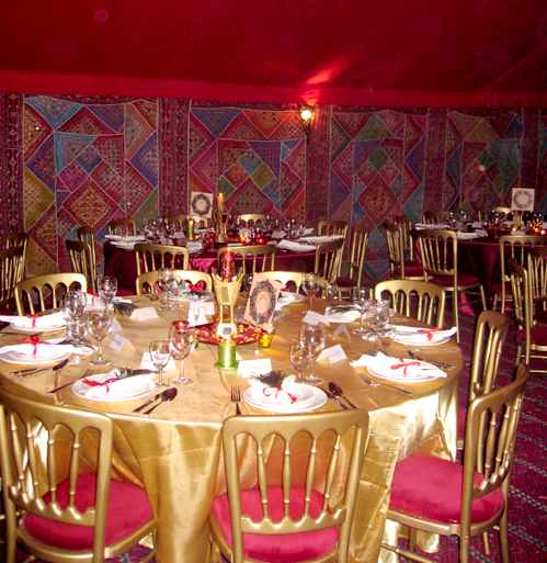 Arabian themed tent hire for Dining hall decoration