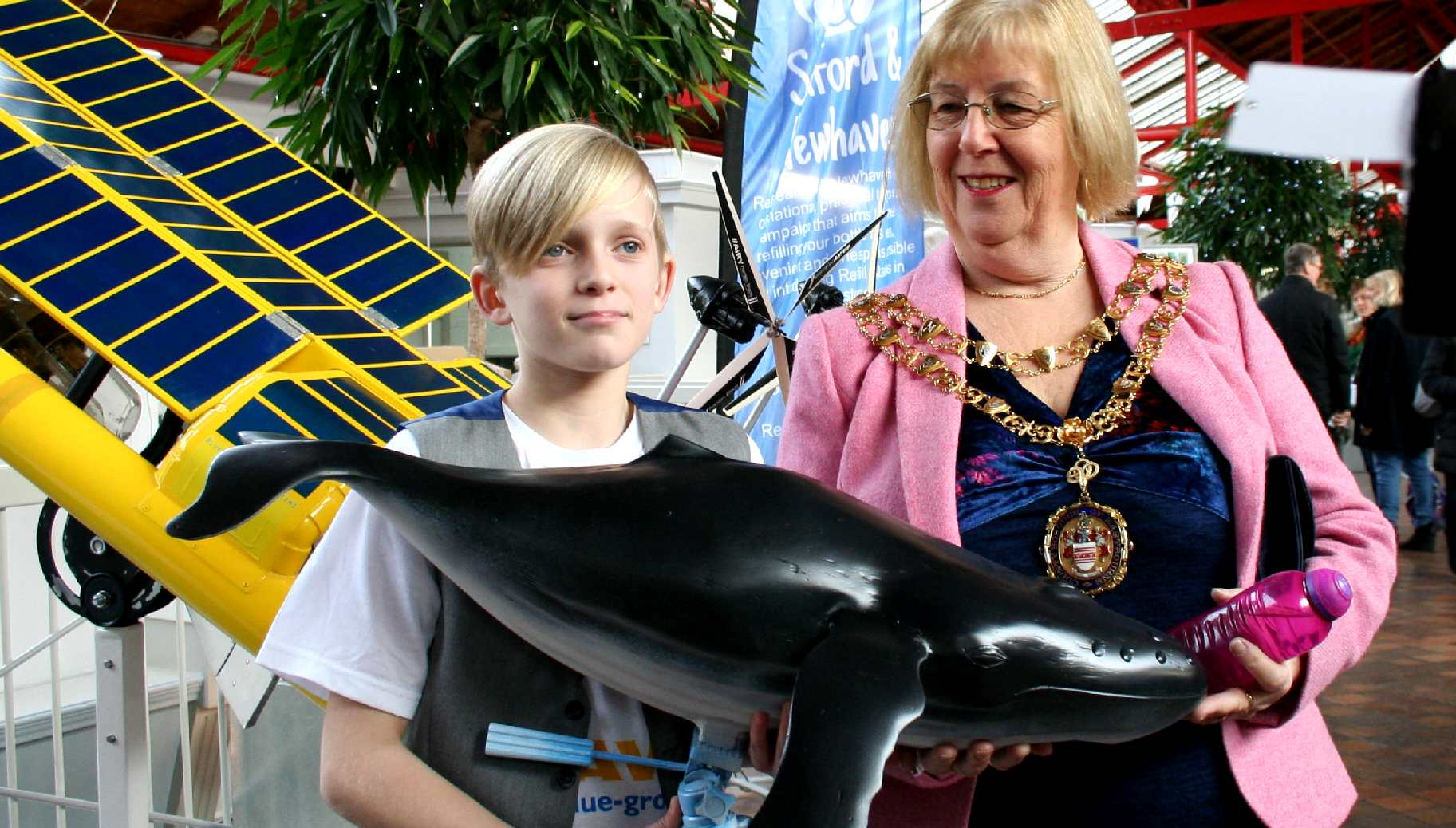 Kulo Luna the humpback whale model with Gill Mattock Mayor of Eastbourne
