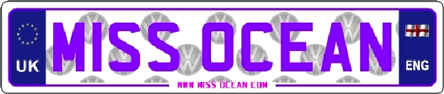 Miss Ocean vehicle number plates in purple and pink