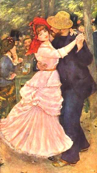 Painting of couple dancing by Pierre Auguste Renoir