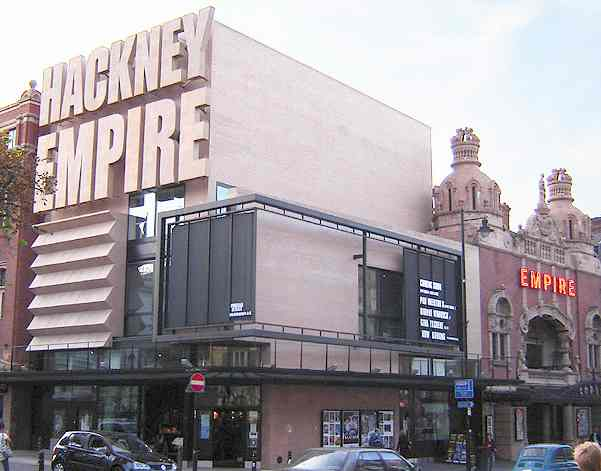 Hackney Empire theatre, London - modern extension building