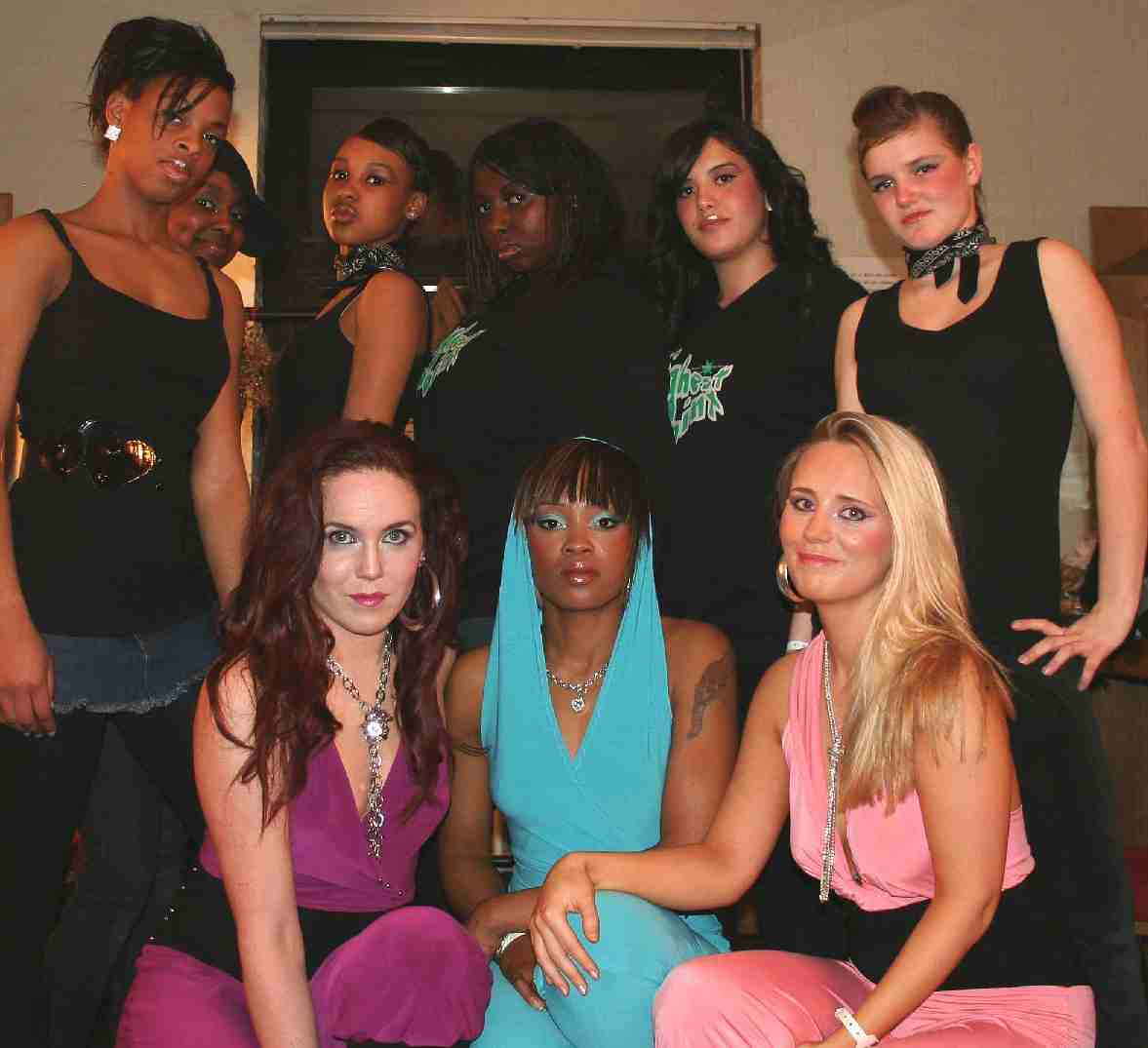 The Kismet Girls and backing dancers in the dressing room at the Hackney Empire theatre, London