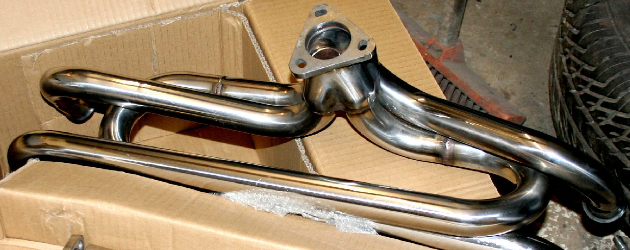 Stainless steel exhaust manifold for a Volkswagen camper van or Beetle
